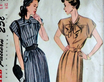 Vintage 40's Simplicity 1930 Sewing Pattern, Misses' One-Piece Dress, Simple to Make, Day Dress, Size 12, 30 Bust, 1940's Fashion