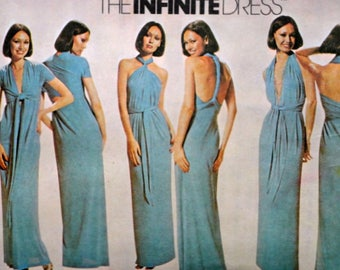 Misses' Infinite Wrap Dress, McCall's 5360 Vintage 70's Sewing Pattern, Retro Disco, One Size