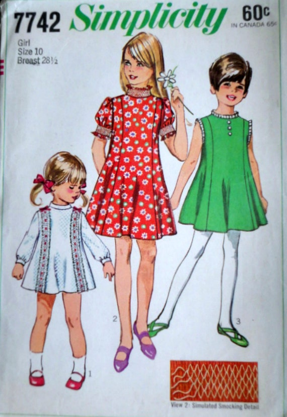 Vintage 60s Simplicity 7742 Sewing Pattern Girls Etsy