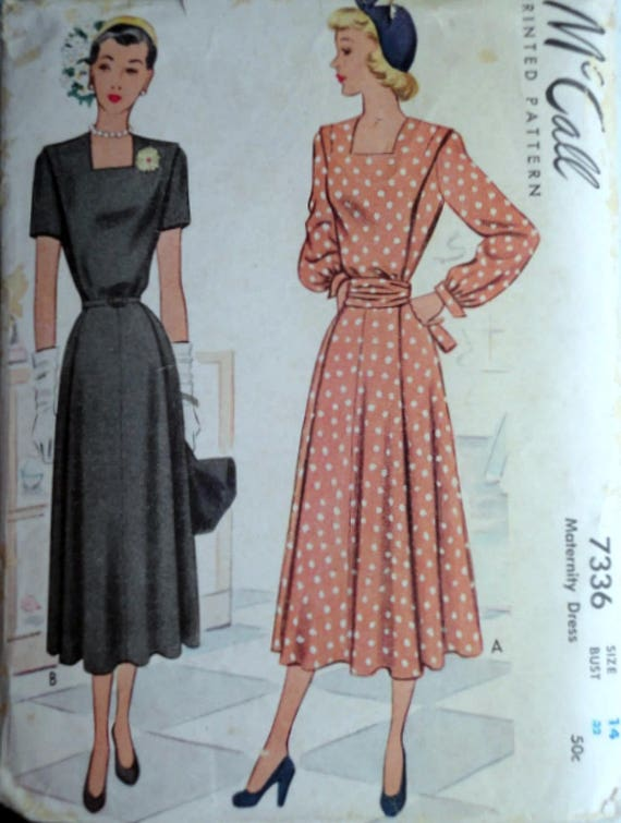 1ddac7632bf Sewing Pattern Vintage 40 s McCall 7336 Maternity Dress