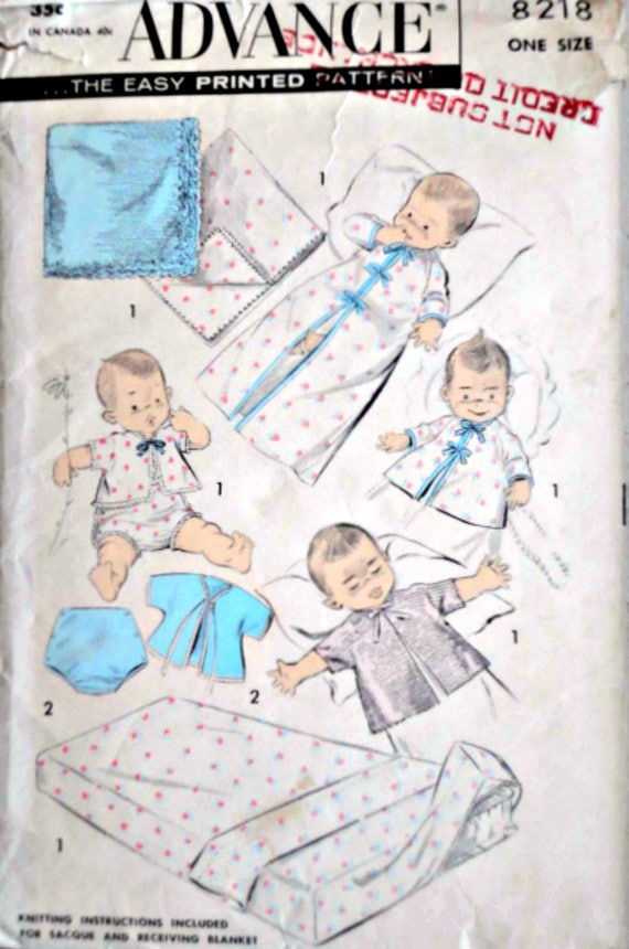 Sewing Pattern Vintage 50\'s Advance 8218 Infants Layette | Etsy