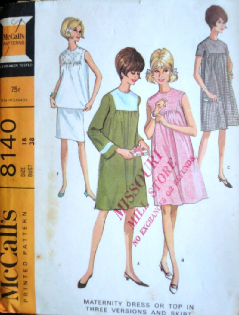 b18fd3a0c285c Vintage 60's McCall's 8140 Sewing Pattern Maternity | Etsy