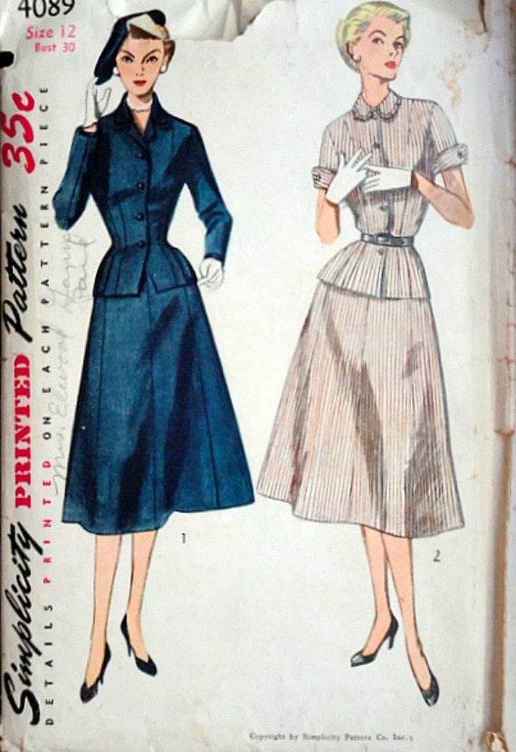 Vintage años 50 simplicidad 4089 costura patrón vestido de | Etsy