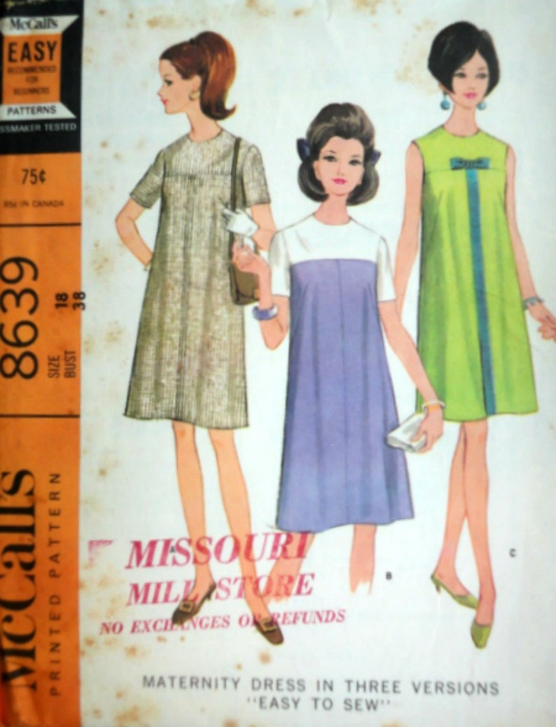 f95dc6c6c9135 Vintage 60's McCall's 8639 Sewing Pattern Maternity | Etsy