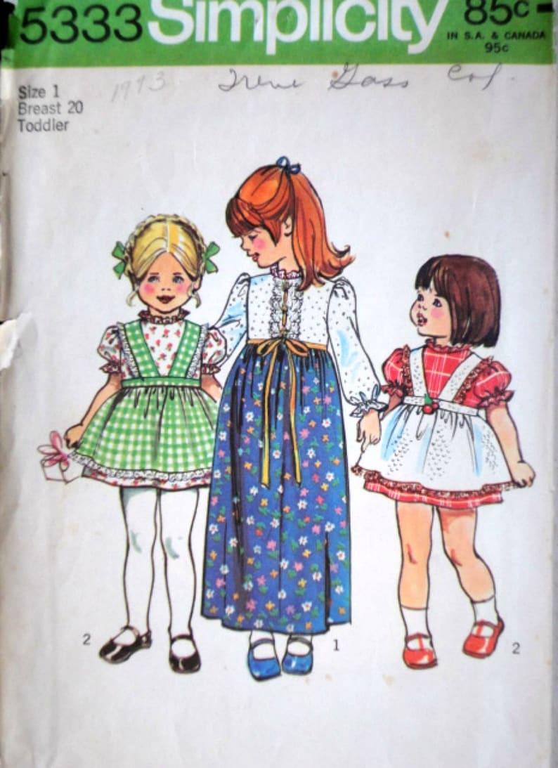 Robe fille enfant en deux longueurs et tablier Vintage 70 | Etsy