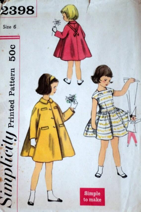 Vintage años 50 patrones de costura simplicidad 2398, niñas vestido ...