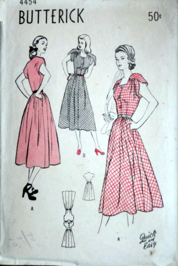Vintage años 40 patrón de costura de Butterick 4454 señoritas | Etsy