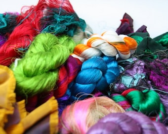 Silk Sari Fiber waste 100 Grams or 3.5ounce Assorted Colors For Spinning, Felting ,Silk Papermaking, Textile Fiber Art