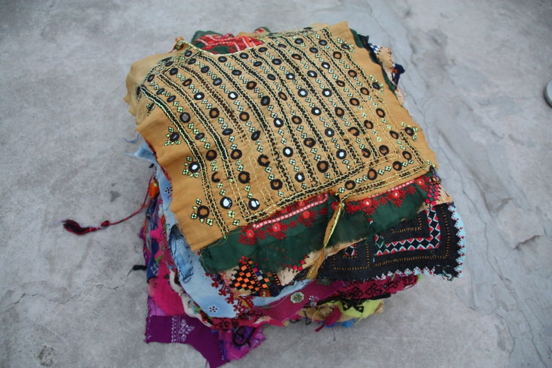 Kutchi Patch,Vintage Yoke Indian Banjara Yokes Quilting Kutchi Embroidered Fabric Ethnic Quilting Scraps,10 pc Ass. Vintage Kutch