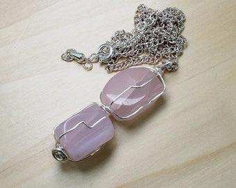 Rose Quartz Necklace, Nuggets Pendant,Hand Wire Wrapped, Rose Quartz Jewellery, Polished Gemstones, Gem Pebble Pendant, OOAK Gift