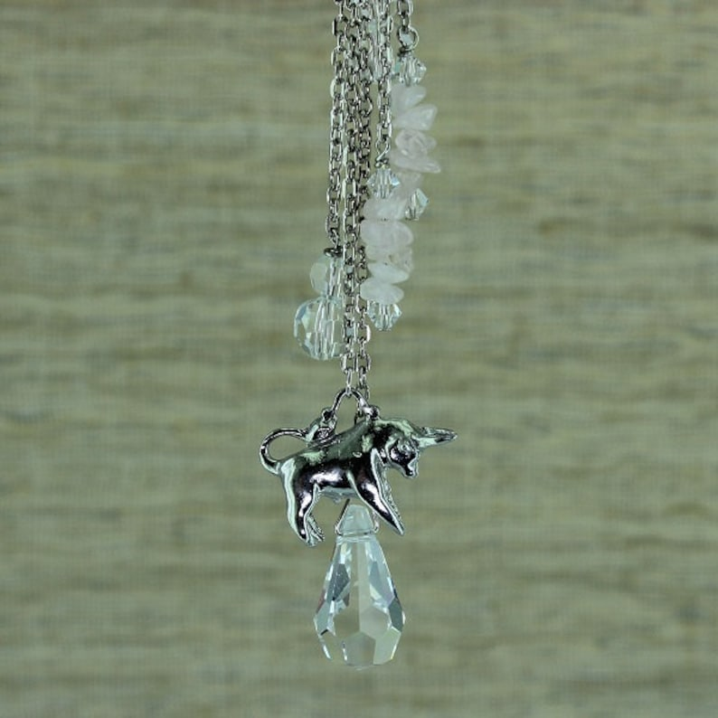 Zodiac Car Catcher Birthstone Keyring Taurus Birth Sign Handbag Bling Birthday Gift Necklace Astrology Jewellery Rear Mirror Dangle