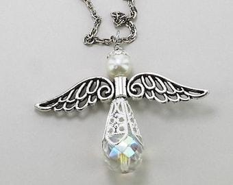 Joyful Angel Car Catcher with Silvery Wings, Rear View Mirror Dangle, Handbag Charm, Necklace, Bridal Keepsake, Spiritual Gift, Car Ornament