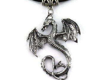 Wyverex Dragon Pendant, Pewter Charm, Gothic Necklace, Medieval Jewellery, Renaissance, Mythical Dragon, Fantasy Jewellery, Handmade Pendant