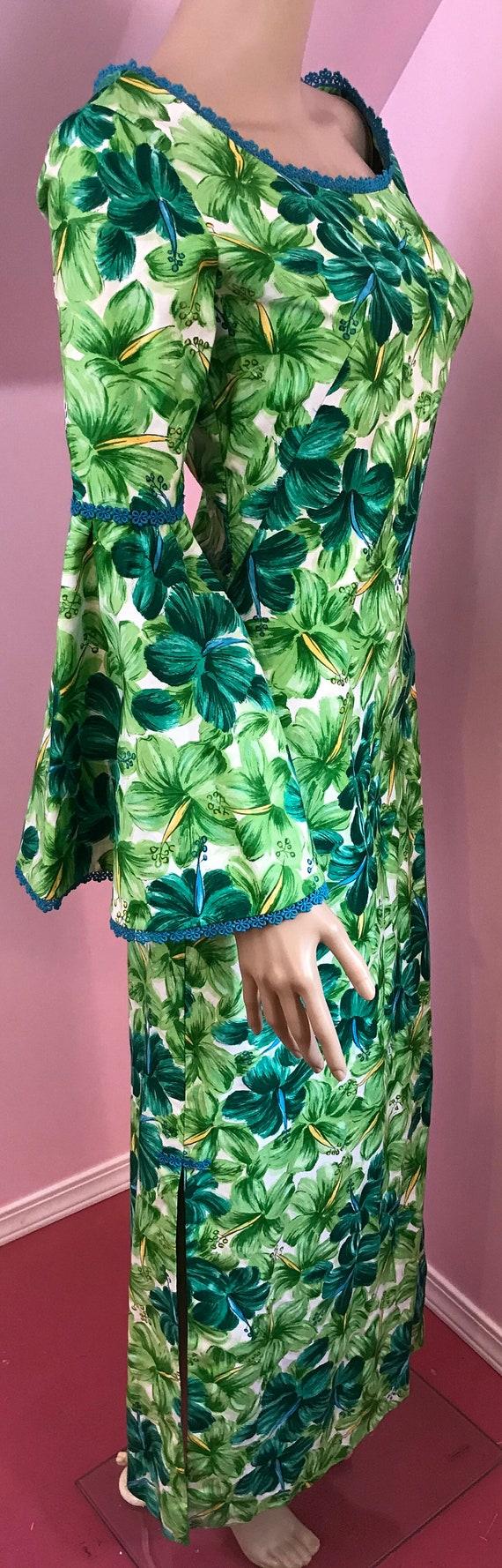 Vintage 50s Hawaiian Wiggle Dress.Green Hawaiian … - image 6