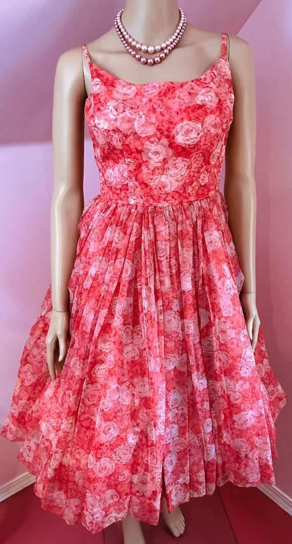 Vintage 50s Chiffon Dress.Pink Chiffon Dress.50s … - image 2
