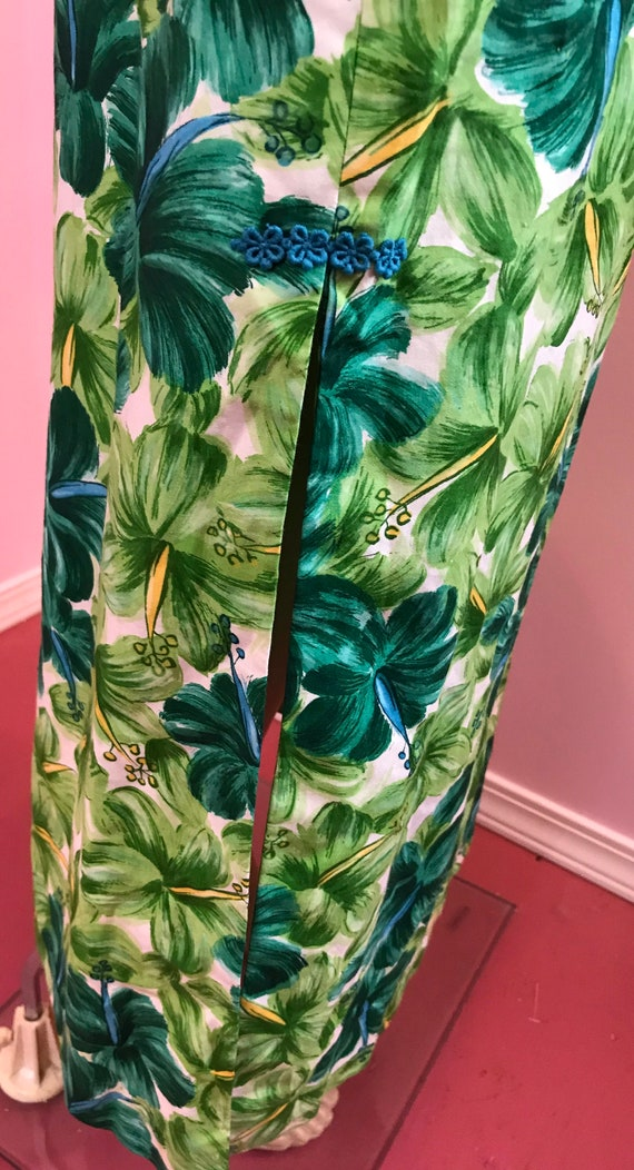 Vintage 50s Hawaiian Wiggle Dress.Green Hawaiian … - image 8