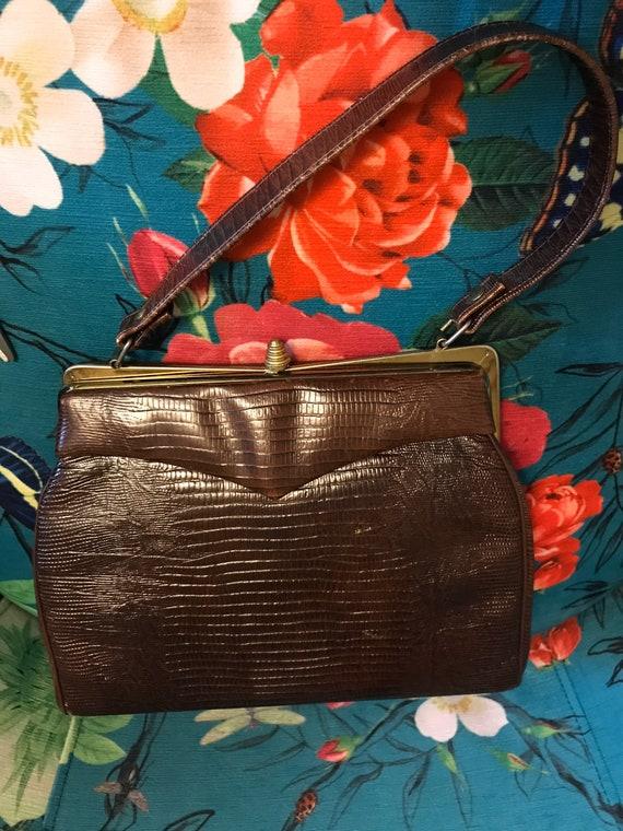 Vintage 1950s Reptile Handbag. Brown 50s Reptile … - image 9