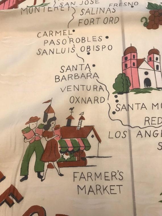 Fabulous 1940s California Souvenir Scarf. Disney,… - image 8