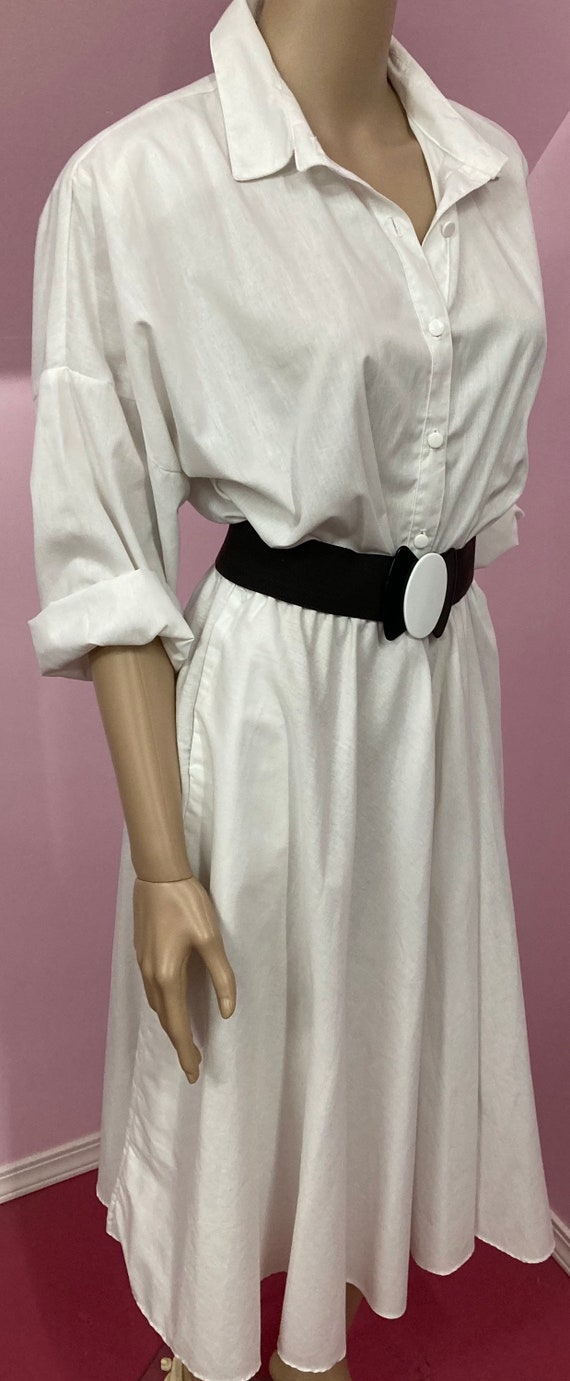 Vintage 70s Shirtdress.White American Shirt Dress… - image 8