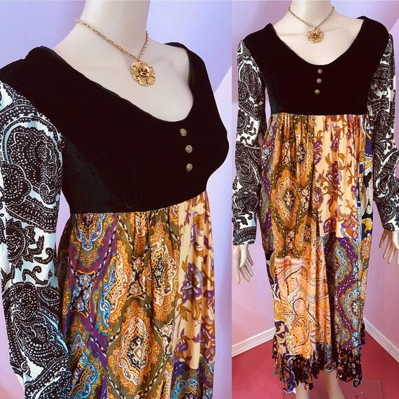 Vintage 70s Boho Dress.70s Patchwork Maxi Dress.Gr