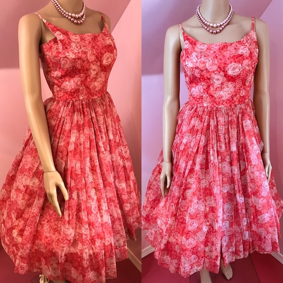 Vintage 50s Chiffon Dress.Pink Chiffon Dress.50s P