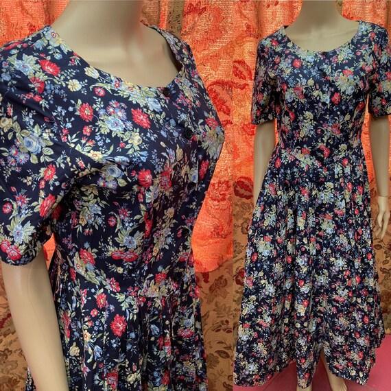 Vintage 90s Laura Ashley Cotton Floral Dress.Cott… - image 1