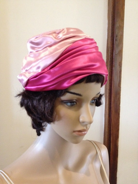 Vintage 50s Pink Satin Turban Hat by Grace Adams