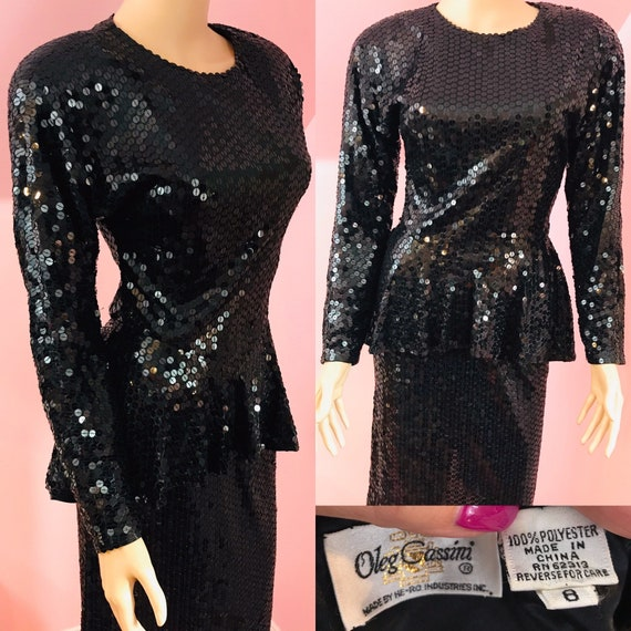 Vintage 80s Oleg Cassini Dress.80s Black Sequin Dr
