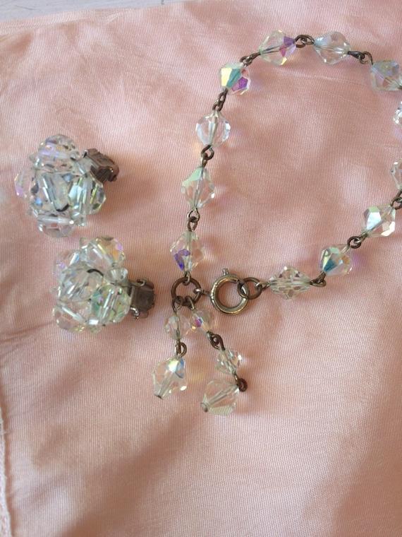 Vintage 1950s Jewelry Set.50s Crystal Bracelet.50s