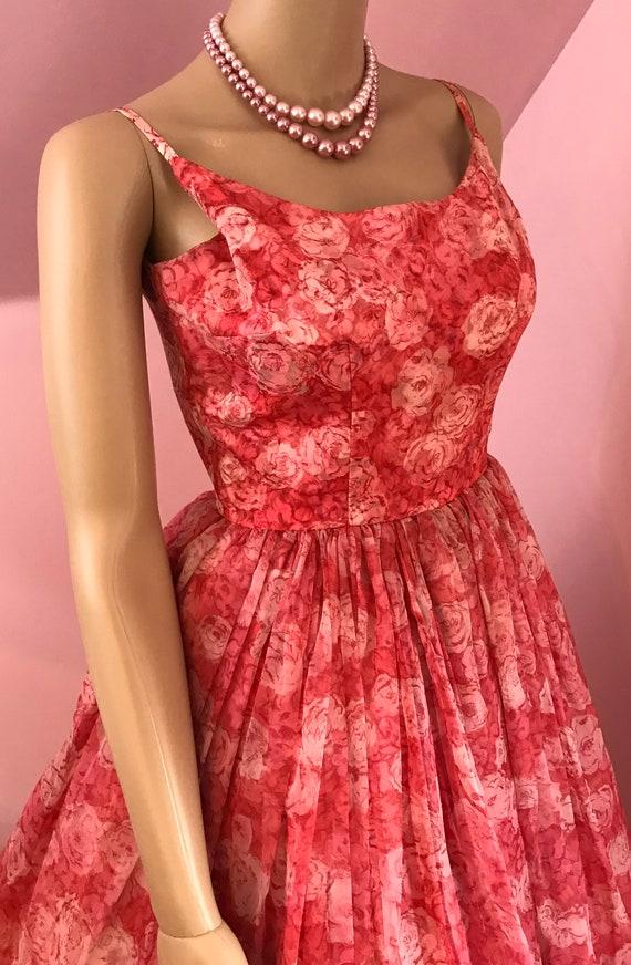 Vintage 50s Chiffon Dress.Pink Chiffon Dress.50s … - image 7