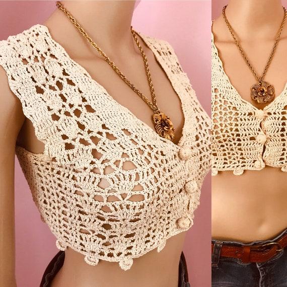 Vintage 70s Crochet Vest.70s Cropped Crochet Vest.