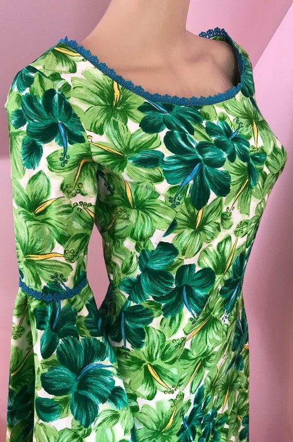 Vintage 50s Hawaiian Wiggle Dress.Green Hawaiian … - image 7