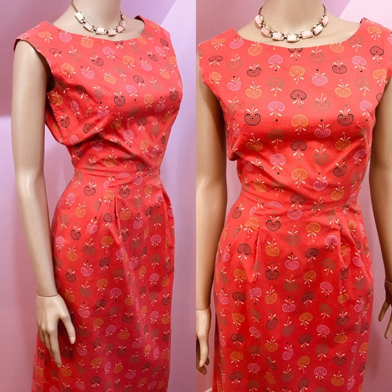 Vintage 40s Novelty Print Dress. Apple Novelty Pri