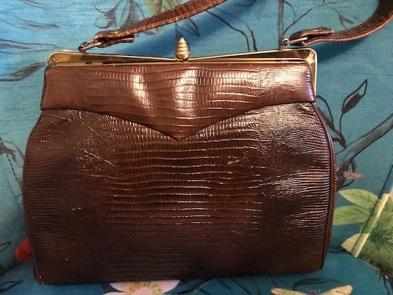 Vintage 1950s Reptile Handbag. Brown 50s Reptile … - image 6
