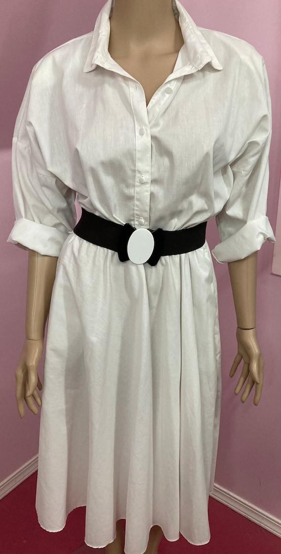 Vintage 70s Shirtdress.White American Shirt Dress… - image 3