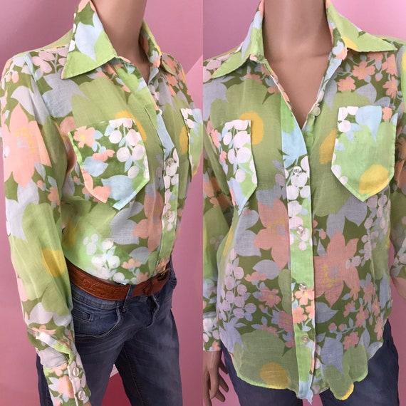 Vintage 70s Sheer Floral Blouse.70s Mod Floral Blo