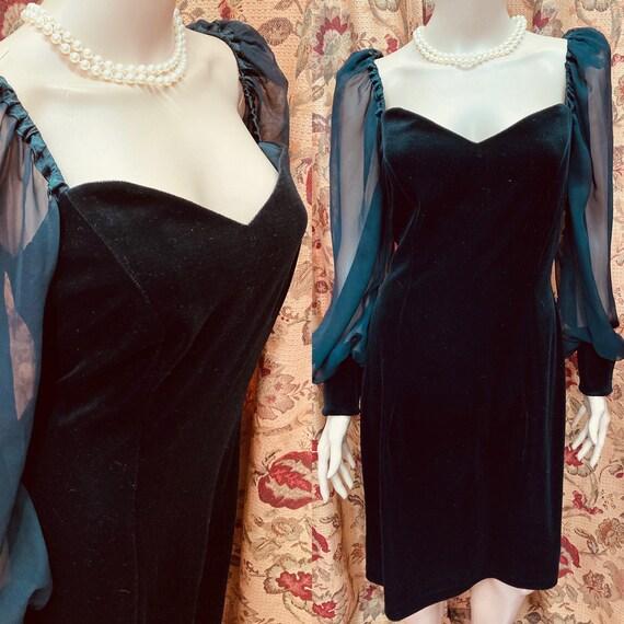 Vintage 80s Black Velvet Dress with Sheer Chiffon