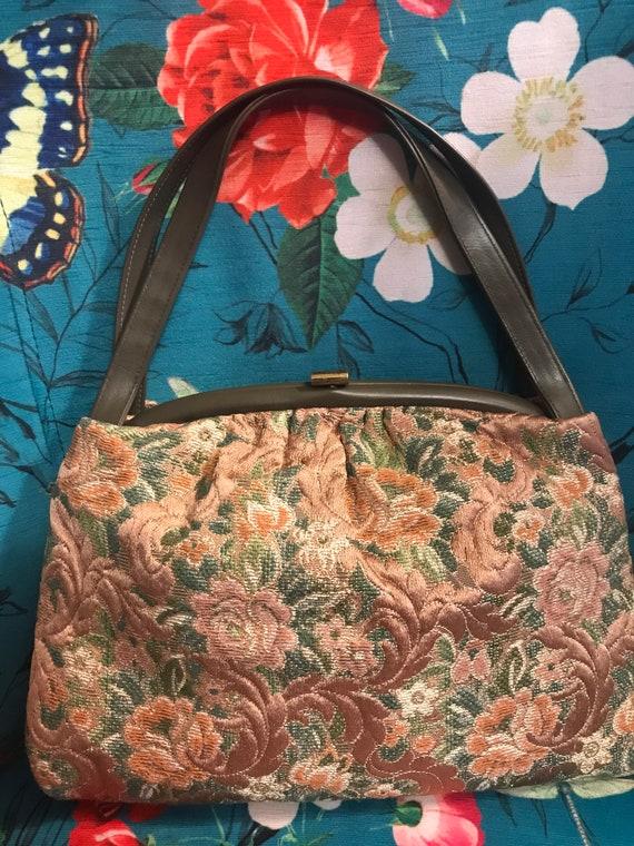 Vintage 60s Brown Tapestry Handbag. 60s Tapestry P