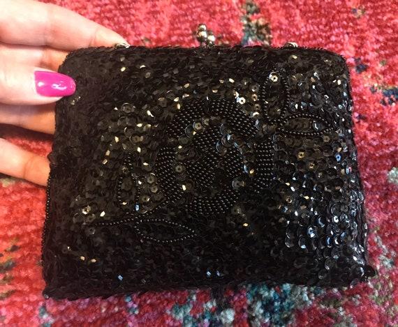 Vintage 50s Black Sequined Beaded Handbag with Cha