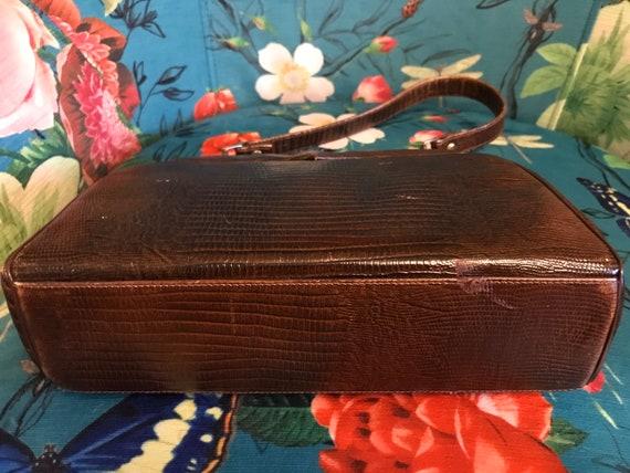 Vintage 1950s Reptile Handbag. Brown 50s Reptile … - image 5