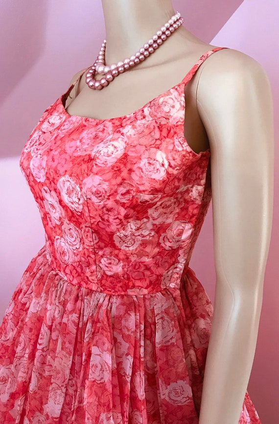 Vintage 50s Chiffon Dress.Pink Chiffon Dress.50s … - image 5