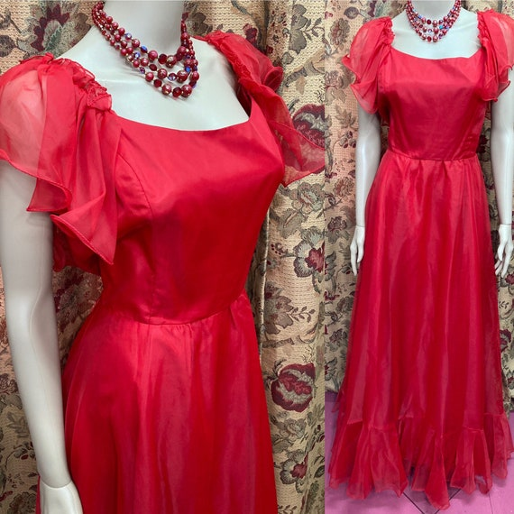 Vintage 70s Red Chiffon Dress.Long Red Dress.70s C