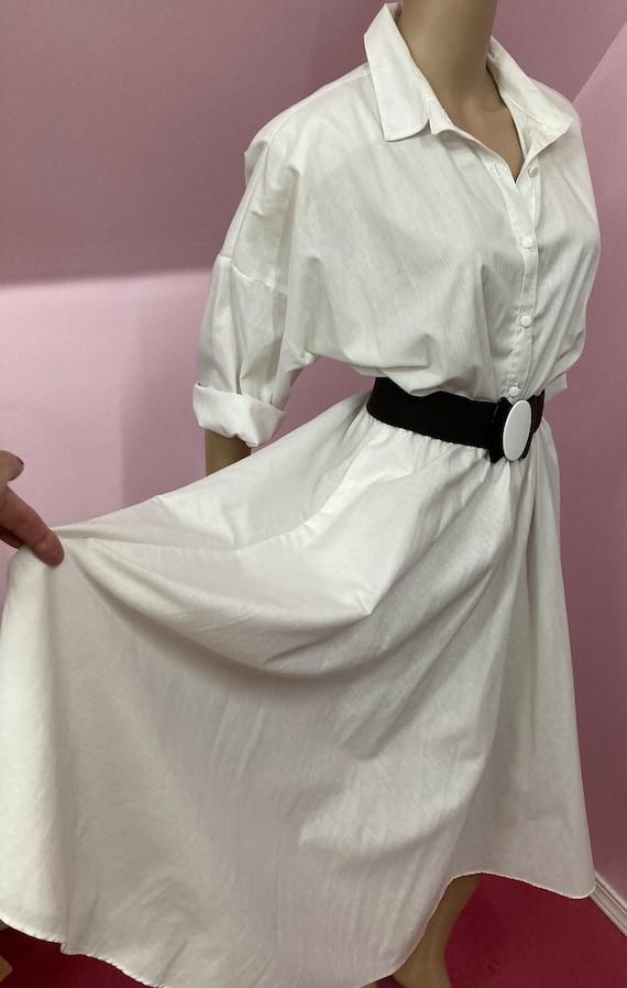 Vintage 70s Shirtdress.White American Shirt Dress… - image 7