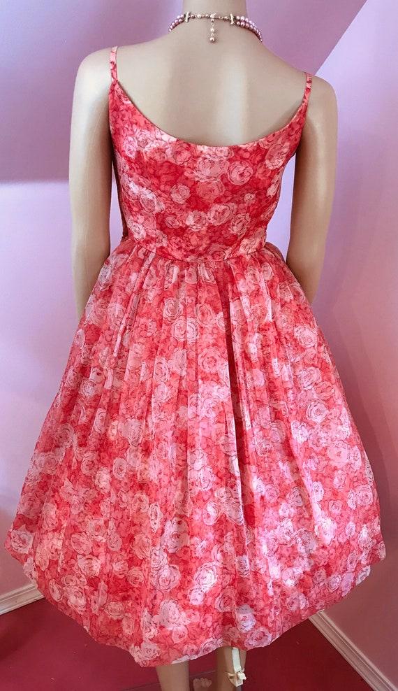 Vintage 50s Chiffon Dress.Pink Chiffon Dress.50s … - image 8