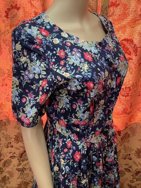 Vintage 90s Laura Ashley Cotton Floral Dress.Cott… - image 7