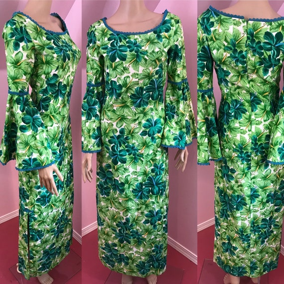 Vintage 50s Hawaiian Wiggle Dress.Green Hawaiian D