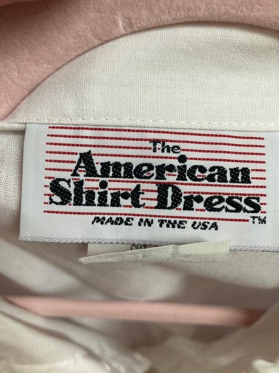 Vintage 70s Shirtdress.White American Shirt Dress… - image 10
