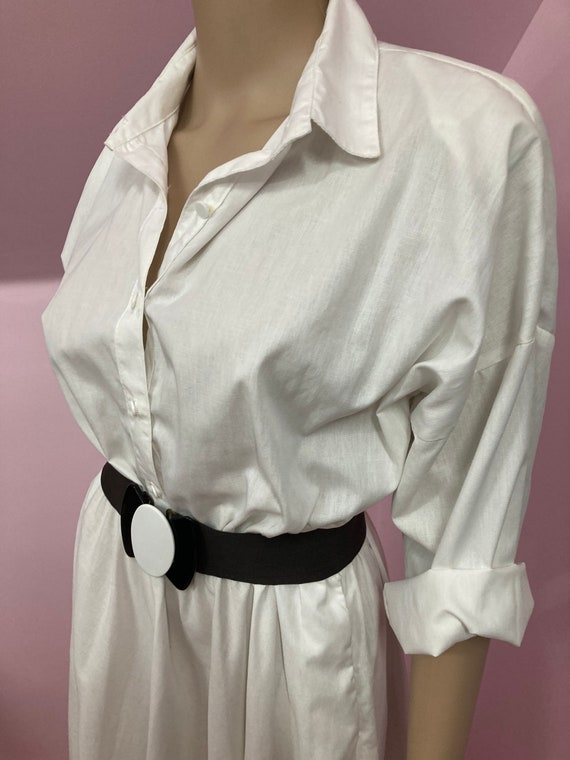Vintage 70s Shirtdress.White American Shirt Dress… - image 4