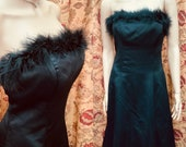 Vintage 90s Black Marabou Satin Gown. Long Black Strapless Evening Dress with Marabou Trim.