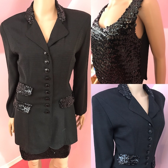 Vintage 80s Sequined Jacket & Top Set.Black Sequin